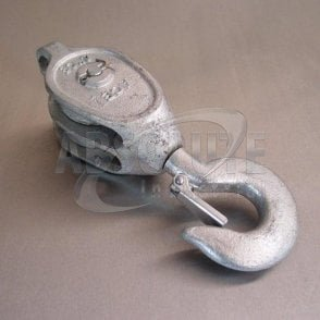 Galvanised Malleable Iron Blocks: Double Sheave - Swivel Safety Hook