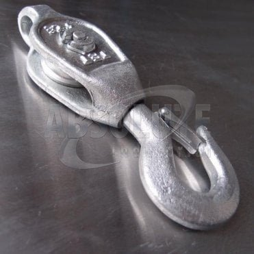 Galvanised Malleable Iron Blocks: Single Sheave - Swivel Safety Hook
