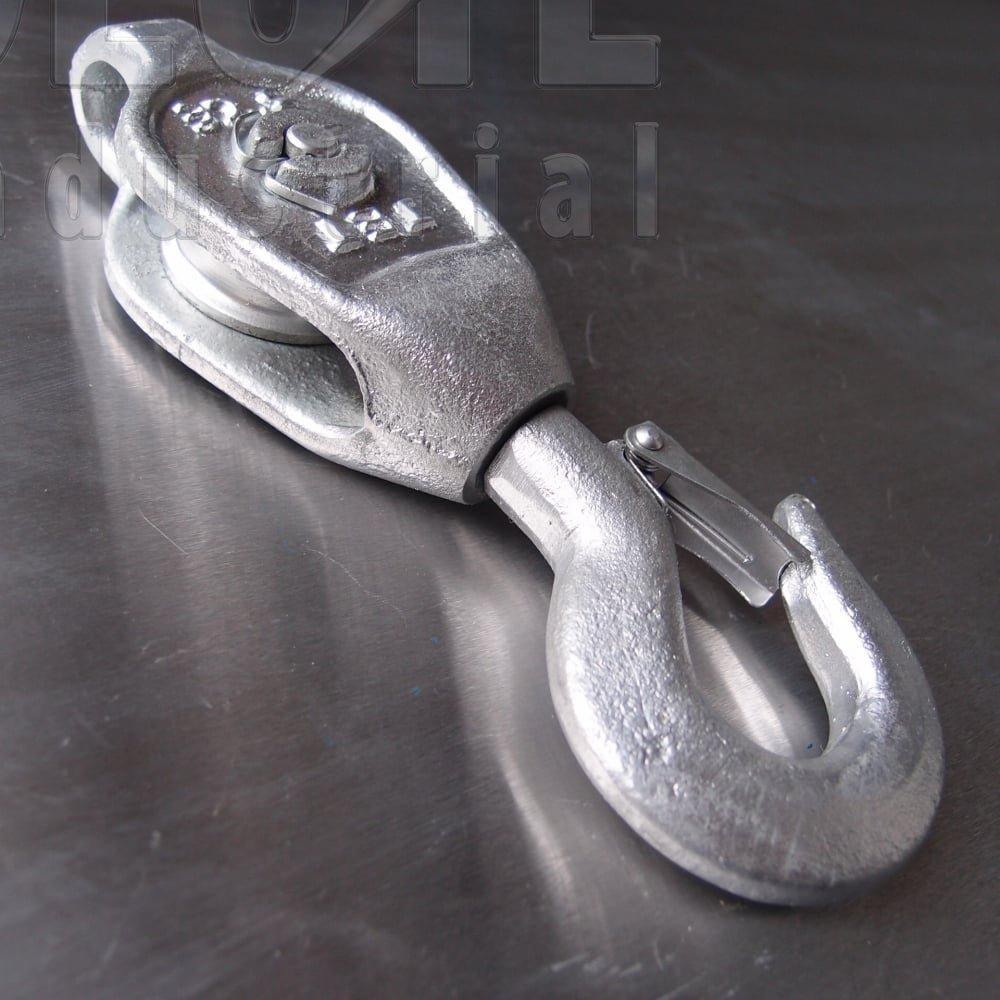 Galvanised Malleable Iron Blocks: Single Sheave - Swivel Safety Hook ...