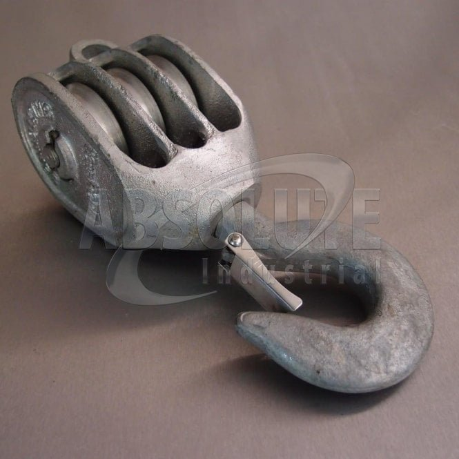 Galvanised Malleable Iron Blocks: Triple Sheave - Swivel Safety Hook