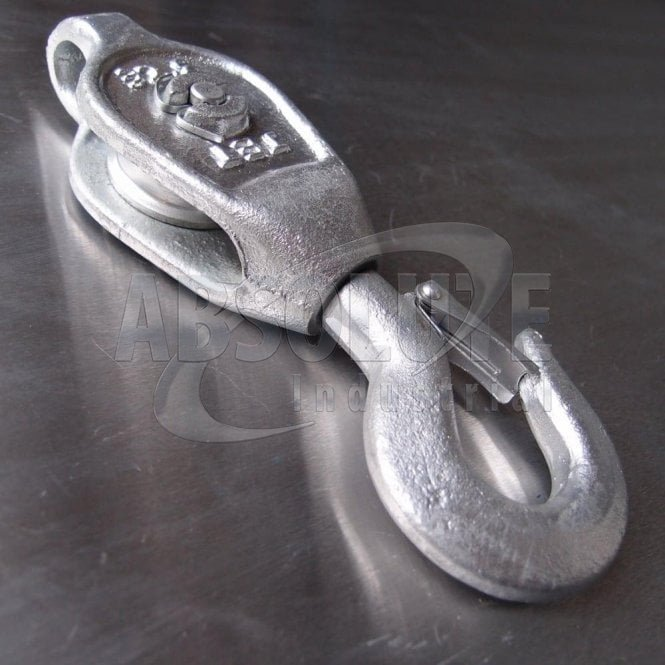 Galvanised Malleable Iron GMI Pulley Blocks: Single Sheave - Swivel Safety Hook