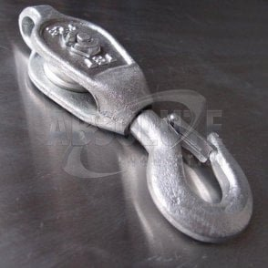 Galvanised Malleable Iron GMI Pulley Blocks: Single Sheave - Swivel Safety Hook