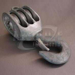 Galvanised Malleable Iron GMI Pulley Blocks: Triple Sheave - Swivel Safety Hook