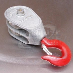 Galvanised 'Red Head' Malleable Iron Blocks: Double Sheave - Swivel Safety Hook
