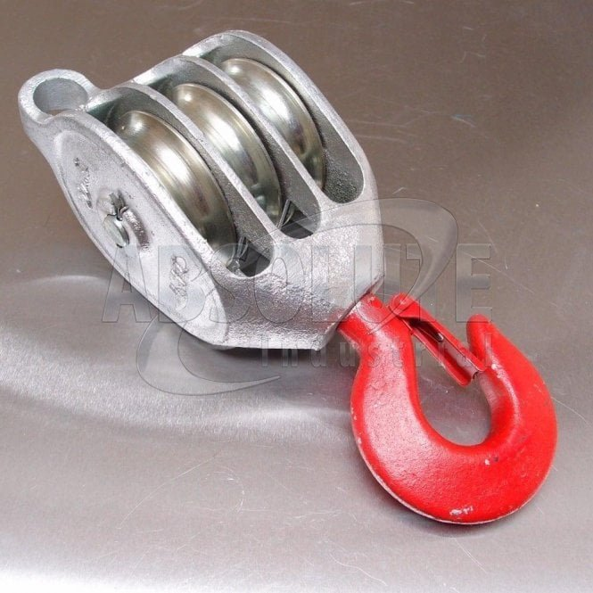 Galvanised 'Red Head' Malleable Iron Blocks: Triple Sheave - Swivel Safety Hook