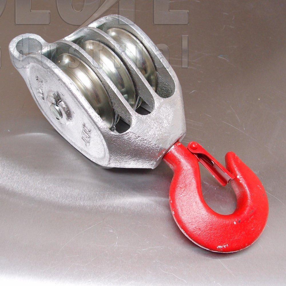 Galvanised \'Red Head\' Malleable Iron Blocks: Triple Sheave - Swivel ...