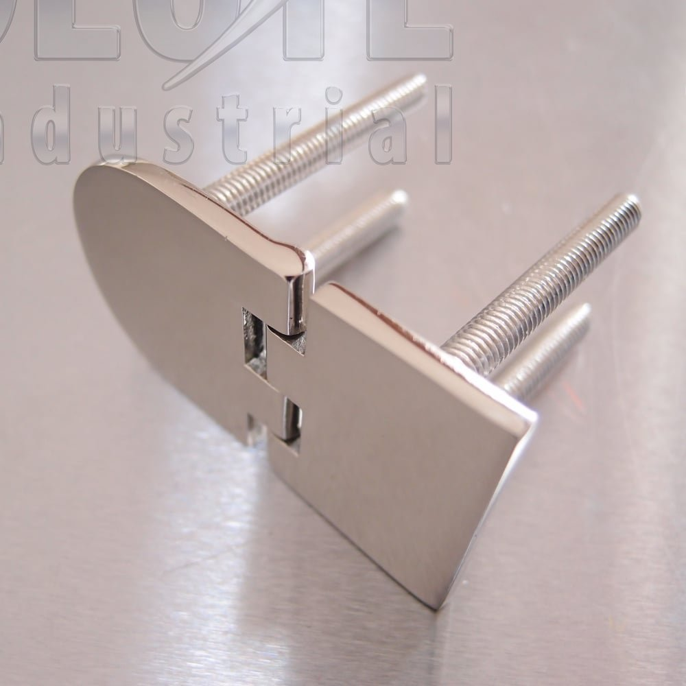 Half Oval Hinge With Threaded Studs Stainless Steel Aisi