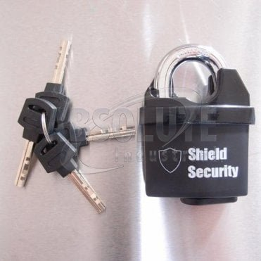 Padlock Black Coated with Hardened Shackle - 4 Keys