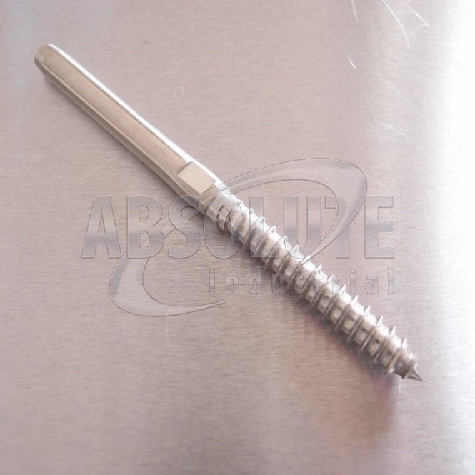 Swage Stud Terminal with Wood Screw Thread - Stainless Steel AISI 316