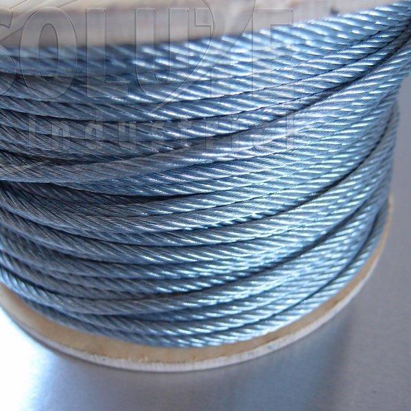 Wire Rope: Galvanised Steel - 7 x 19 Wire Steel Core 100m reel ...