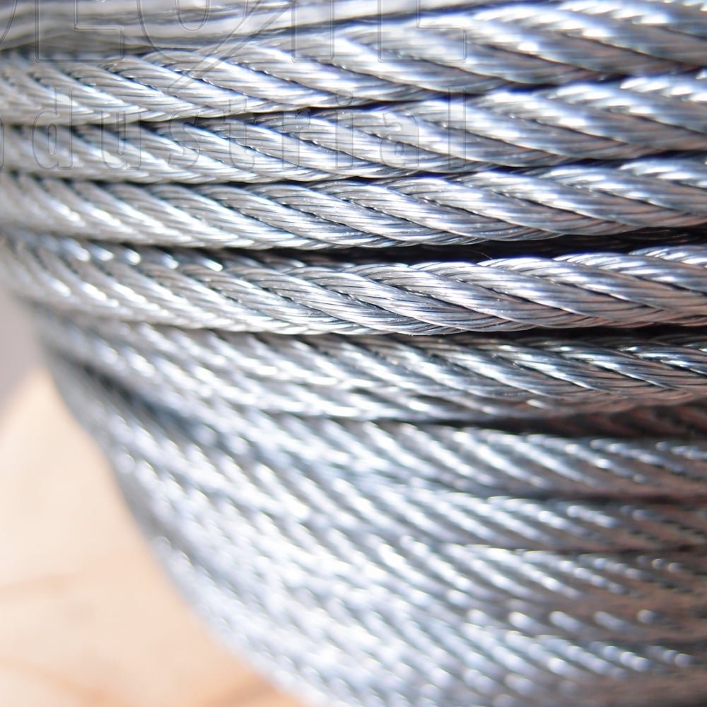 Wire Rope: Galvanised Steel - 7 x 7 Wire Steel Core 100m reel - from ...